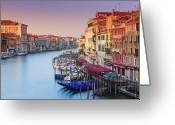 Mooring Greeting Cards - Sunrise Grand Canal, Venice Greeting Card by Proframe Photography