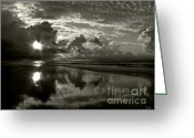 Myrtle Beach South Carolina Greeting Cards - Sunrise in Black and White 2 Greeting Card by Jeff Breiman