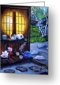 Teapot Greeting Cards - Sunrise in Moon Window Greeting Card by Laura Iverson