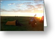 Harley Davidson Rally Greeting Cards - Sunrise in Sturgis South Dakota Greeting Card by Johnny Yen