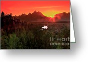 Grand Teton Panoramic Greeting Cards - Sunrise in the Tetons Greeting Card by Robert Bales