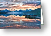 Lake Mcdonald Greeting Cards - Sunrise Lake Mcdonald Greeting Card by Jay Seeley