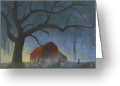 Old Barn Pastels Greeting Cards - Sunrise Mist Greeting Card by Garry McMichael