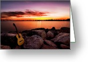 Horizon Over Water Greeting Cards - Sunrise Notes Greeting Card by Wilson Santinelli
