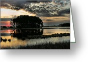 Landscape Framed Prints Greeting Cards - Sunrise on Assateague Greeting Card by Steven Ainsworth