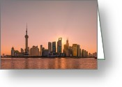 The Bund Greeting Cards - Sunrise On Bund Greeting Card by Viktor Chan Photography