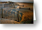 Sand Fences Photo Greeting Cards - Sunrise On Hatteras II Greeting Card by Steven Ainsworth