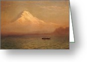Snow Capped Painting Greeting Cards - Sunrise on Mount Tacoma  Greeting Card by Albert Bierstadt