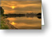Kansas City Missouri Greeting Cards - Sunrise on the Missouri River Greeting Card by Don Wolf