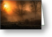 Mist Greeting Cards - Sunrise on the projects Greeting Card by Everet Regal