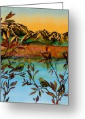 Blue Tapestries - Textiles Greeting Cards - Sunrise on Willows Greeting Card by Carolyn Doe