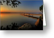 Reflection Photo Greeting Cards - Sunrise over Cayuga Lake Greeting Card by Everet Regal