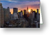 Sun Flare Greeting Cards - Sunrise Over Chrysler Greeting Card by Janet Fikar