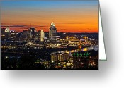 Sunrise Greeting Cards - Sunrise over Cincinnati Greeting Card by Keith Allen