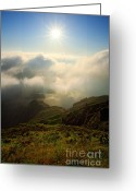 Above The Clouds Greeting Cards - Sunrise over Lagoa do Fogo Greeting Card by Gaspar Avila