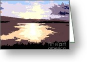 Sea Shell Art Greeting Cards - Sunrise Over Lake Greeting Card by Patrick J Murphy