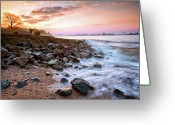 Hamburg Greeting Cards - Sunrise Over River Elbe In Hamburg Greeting Card by Roy Jankowski