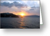 Thira Photo Greeting Cards - Sunrise over Santorini Greeting Card by Keiko Richter