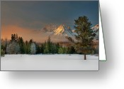 Mountain Range Greeting Cards - Sunrise Over Sawtooth Mountains Idaho Greeting Card by Knowles Photography