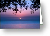 Horizon Over Water Greeting Cards - Sunrise Over Sea Greeting Card by Shahbaz Hussain