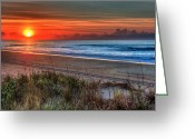 Sea Oats Greeting Cards - Sunrise Over the Ocean Ocracoke Island Outer Banks I Greeting Card by Dan Carmichael