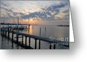 Pete Rose Greeting Cards - Sunrise over the Old Pier Greeting Card by Rose  Hill