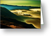 Foggy Morning Greeting Cards - Sunrise over the Pacific Greeting Card by Helen Carson