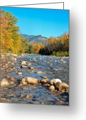 Saco River Greeting Cards - Sunrise over the Saco Vertical Greeting Card by Geoffrey Bolte