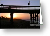 Surf Silhouette Greeting Cards - Sunrise Pier Ventura Greeting Card by Henrik Lehnerer
