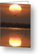 Lakescape Greeting Cards - Sunrise Reflection Greeting Card by Hitendra Sinkar