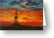 Field Greeting Cards - Sunrise Rig Greeting Card by Karen  Peterson