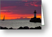 Lighthouse Greeting Cards - Sunrise Sailing Greeting Card by Mary Amerman