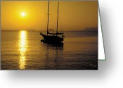 Sausalito Greeting Cards - Sunrise Sailing Greeting Card by Richard Leon