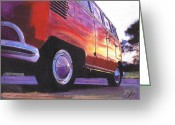Campervan Greeting Cards - Sunrise Greeting Card by Sharon Poulton