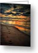 Sand Beaches Greeting Cards - Sunrise Walk  Greeting Card by Emily Stauring