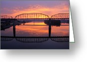 Riverwalk Greeting Cards - Sunrise Walnut Street Bridge 2 Greeting Card by Tom and Pat Cory