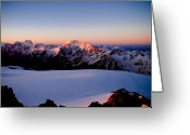 Alpine Skiing Prints Greeting Cards - Sunrise Greeting Card by Iurii Zaika