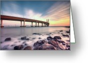 India Greeting Cards - Sunset - Sea Link Greeting Card by Brendon Fernandes