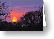 Landscape Framed Print Greeting Cards - Sunset 1-St Lucia Greeting Card by Chester Williams