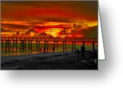 Beach Photographs Greeting Cards - Sunset 4th of July Greeting Card by Bill Cannon