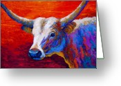 Longhorns Greeting Cards - Sunset Ablaze Greeting Card by Marion Rose