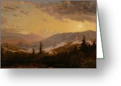 Pine Trees Painting Greeting Cards - Sunset after a Storm in the Catskill Mountains Greeting Card by Jasper Francis Cropsey
