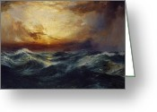 Dark Cloud Greeting Cards - Sunset After a Storm Greeting Card by Thomas Moran