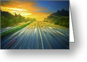 Traffic Greeting Cards - Sunset, After Work On 101 Freeway! Greeting Card by Albert Valles