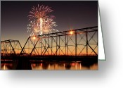 Debbie Johnson Greeting Cards - Sunset and Fireworks Greeting Card by Deborah  Crew-Johnson