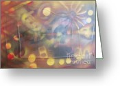 Sarasota Mixed Media Greeting Cards - Sunset Greeting Card by Anita Wexler