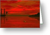 3d Greeting Cards - Sunset arrival Greeting Card by Claude McCoy