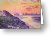Pointillist Painting Greeting Cards - Sunset at Ambleteuse Pas-de-Calais Greeting Card by Theo van Rysselberghe