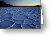 Road Trip Greeting Cards - Sunset at Badwater in Death Valley Greeting Card by Pierre Leclerc