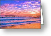 Oceano Greeting Cards - Sunset at Cayucos Pier Greeting Card by Dominic Piperata